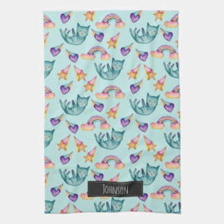 Dreamy Cat Floating in the Sky Watercolor Pattern Tea Towel