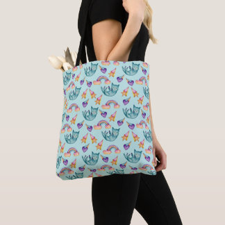Dreamy Cat Floating in the Sky Watercolor Pattern Tote Bag
