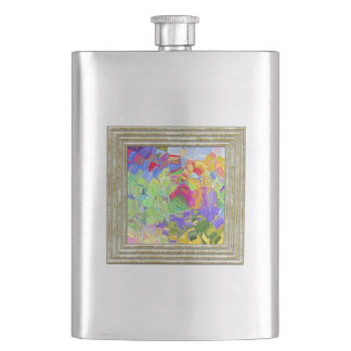 Dreamy Colorful Abstract Hip Flask
