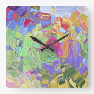 Dreamy Colorful Abstract Square Wall Clock