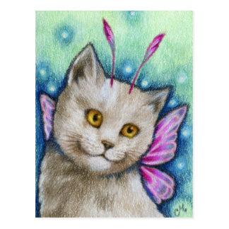 Dreamy - Cute Russian Blue Cat Fairy Art Postcard
