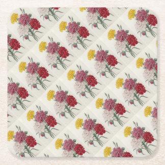 Dreamy Dianthus Square Paper Coaster