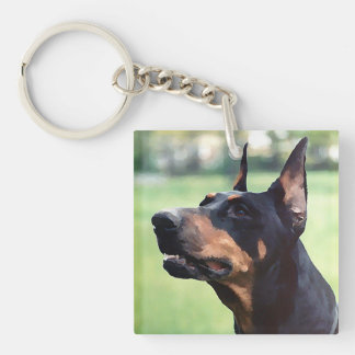 Dreamy Doberman Pinscher Face Painting Single-Sided Square Acrylic Key Ring