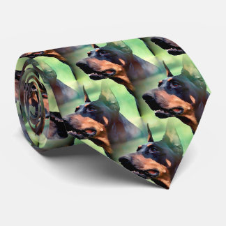 Dreamy Doberman Pinscher Face Painting Tie