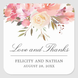 Dreamy Floral Watercolor Bouquet Thank You Square Sticker