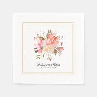 Dreamy Floral Watercolor Bouquet Wedding Paper Serviettes