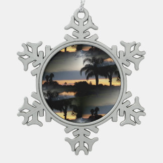 Dreamy Florida Sunset Snowflake Pewter Christmas Ornament