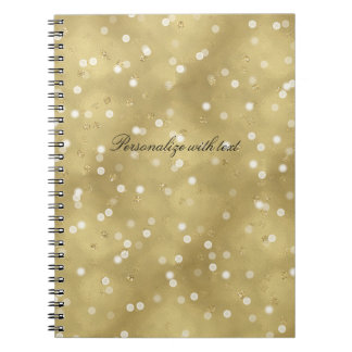 Dreamy Gold Bokeh Confetti Spiral Notebook