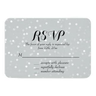 Dreamy Grey and White Bokeh Confetti Wedding RSVP 9 Cm X 13 Cm Invitation Card