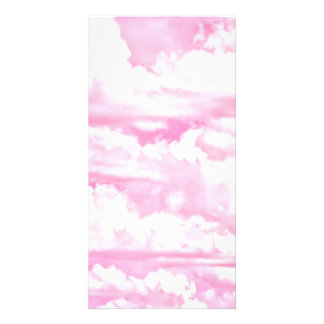 Dreamy Happy Pink Clouds Customized Photo Card