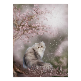 Dreamy kitty cat poster