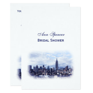 Dreamy Navy Blue NYC Skyline Bridal Shower V Card