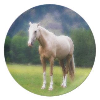Dreamy Palomino Horse Painting Plate