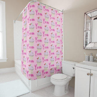Dreamy Pink Cupcake with Raspberry Yum! Shower Curtain