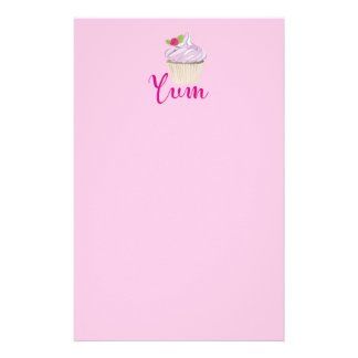 Dreamy Pink Cupcake with Raspberry Yum! Stationery