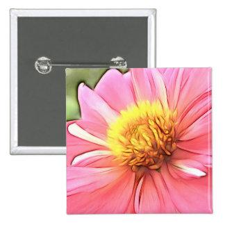 Dreamy Pink Dahlia Pinback Buttons