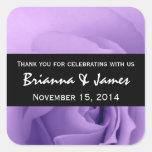 Dreamy Purple Rose Premium Wedding Collection Square Stickers