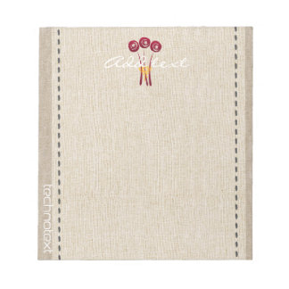 Dreamy Red Roses Linen Look Add Text Gardener Notepad