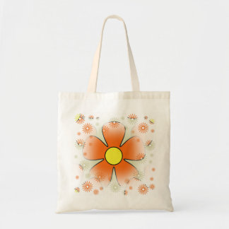 Dreamy Retro Orange Flower Budget Tote Bag