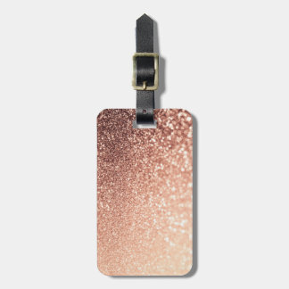 Dreamy Rose Gold Glitter - Peach Glittereffect Luggage Tag