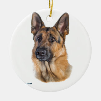 Dreamy Shepherd Dog Ceramic Ornament