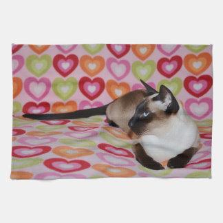 Dreamy Siamese Cat Hearts Kitchen Towels