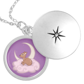 Dreamy Star Spotted Fawn In The Clouds Art Round Locket Necklace