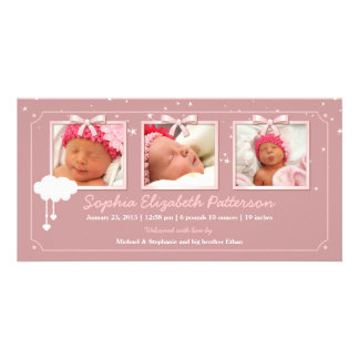Dreamy Stars Three Photo Baby Birth Announcement Card
