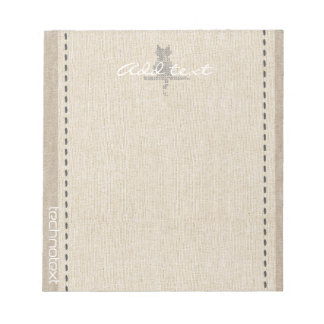 Dreamy Stitch Cat Linen Look Add Text Thank You Notepad