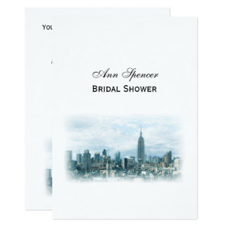 Dreamy Teal NYC Skyline Bridal Shower V Card