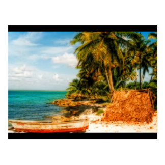 Dreamy Tropical Beach with Rowboat Postcard