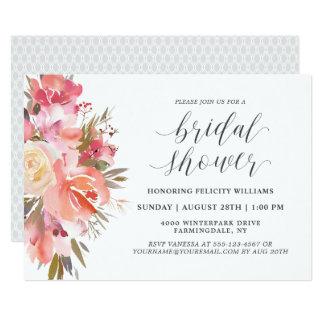 Dreamy Watercolor Floral Bouquet Bridal Shower Card