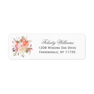 Dreamy Watercolor Floral Bouquet Return Address Label