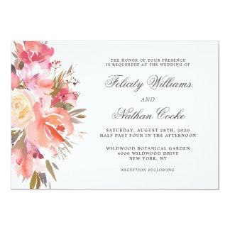 Dreamy Watercolor Floral Bouquet Wedding Card