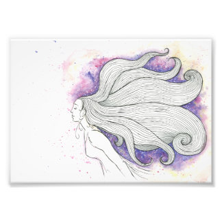 Dreamy watercolour and ink illustration photo print