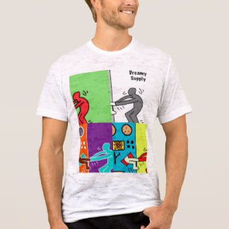 DreamySupply Man Vs Machine Pop Art Canvas Burnout T-Shirt