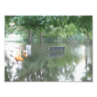 Drenched Park Bench Photo Print
