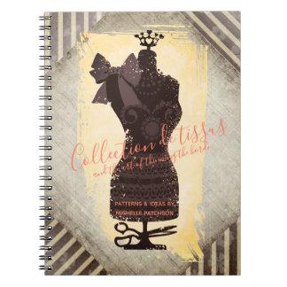 Dress dummy mannequin sewing pattern notebook
