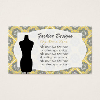 Dress Form Business Cards Yellow White Motif