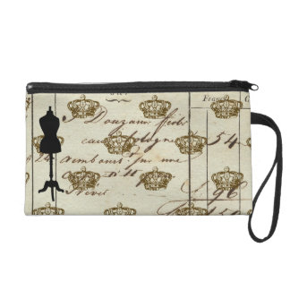 Dress Form Silhouette Antique French Writing Colla Wristlet Purses