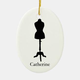 Dress Form Silhouette II - Personalize It Ceramic Ornament