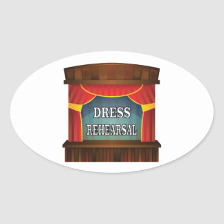 dress rehearsal oval sticker