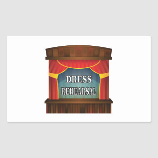 dress rehearsal rectangular sticker