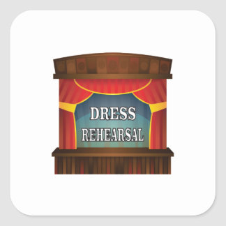 dress rehearsal square sticker