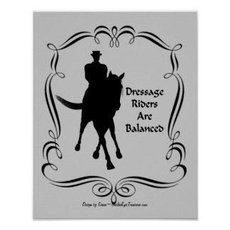 Dressage Balanced Horse Rider Silhouette Poster