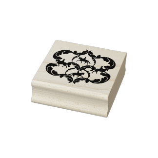 Dressage Damask art rubber stamp
