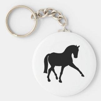 Dressage Half Pass Silhouette Basic Round Button Key Ring