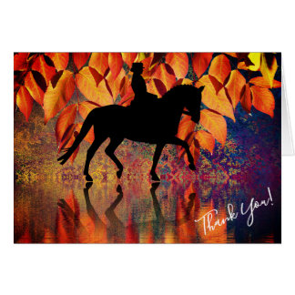 Dressage Horse and Rider Autumn Leaves Thank You Card