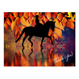 Dressage Horse and Rider Autumn Leaves Thank You Postcard