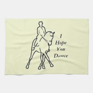 Dressage Horse and Rider - Line Art Half Pass Tea Towel